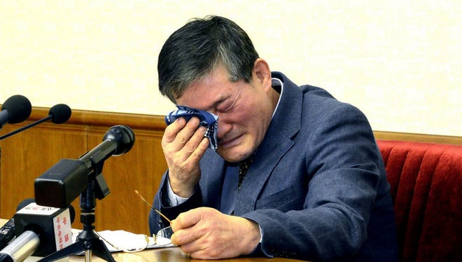This picture released from North Korea's official Korean Central News Agency (KCNA) on March 25, 2016, shows Kim Dong-Chul, a Korean-American as he addresses a news conference in Pyongyang on March 25. A Korean-American detained in North Korea admitted to attempting to steal military secrets as he was paraded in front of media groups in Pyongyang. Kim Dong-Chul, 62, who became a naturalised US citizen in 1987 and was arrested on espionage charges in October last year, pleaded for mercy during his carefully orchestrated confession, Japan's Kyodo news agency reported.