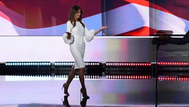 Melania Trump enters the stage during the 2016 Republican National Convention at Quicken Loans Arena.
