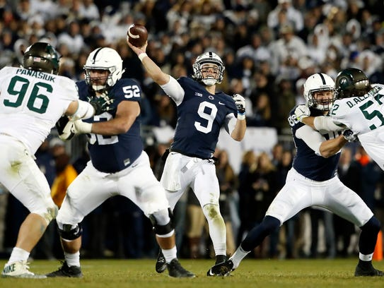 The play of quarterback Trace McSorley (9) is one of