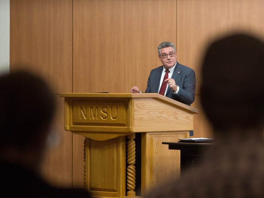 John Floros, one of the candidates for New Mexico State University chancellor, speaks to members of the press after a public forum, Monday April 23, 2018, at the Corbett Center Auditorium.