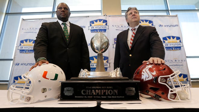 University of Miami head coach Larry Scott and Washington State's Mike Leach met in El Paso for a Sun Bowl press conference Monday. The teams will face off Saturday, December, 26, in the Hyundai Sun Bowl.