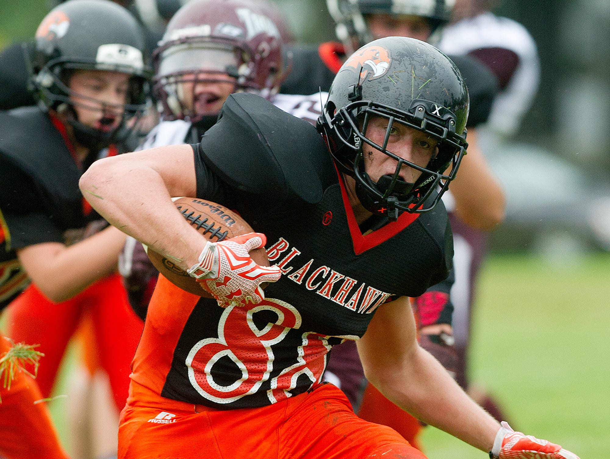 Port Edwards senior Ethan Saylor has made a seamless switch from wide receiver to halfback this football season.
