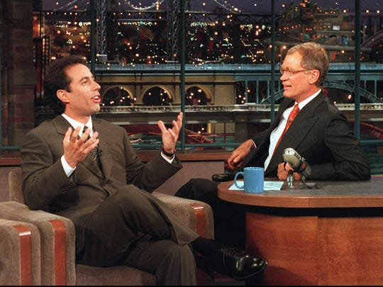 """Indianapolis native David Letterman, right, interviews Jerry Seinfeld on """"Late Show with David Letterman."""""""
