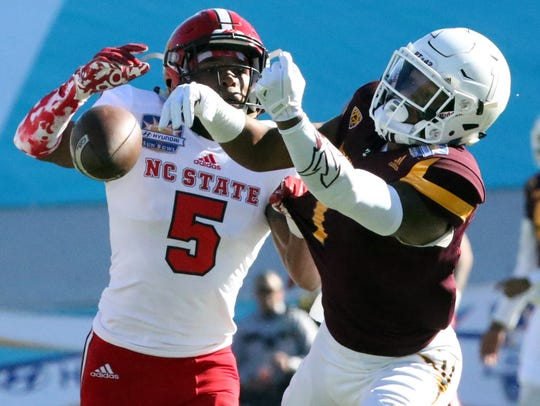 Arizona State wide receiver N'Keel Harry, 1, can't