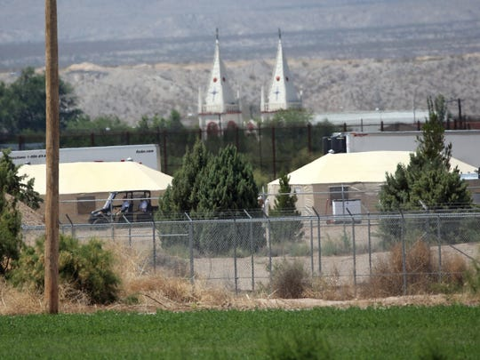 Tents housing undocumented immigrant children are seen from a distance inside the Tornillo-Guadalupe Port of Entry Sunday.