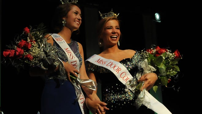 Ashton Spritka, left, was selected Miss Door County Outstanding Teen and Hannah Cole was crowned Miss Door County during the scholarship pagent on Saturday, Feb. 7, 2015, at Southern Door Community Auditorium. A photo gallery is posted at www.doorcountyadvocate.com. Tina M. Gohr/Door County Advocate