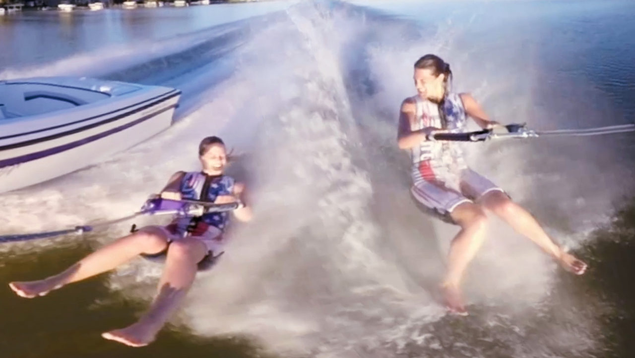 VR: See why these sisters are barefoot water skiing champs