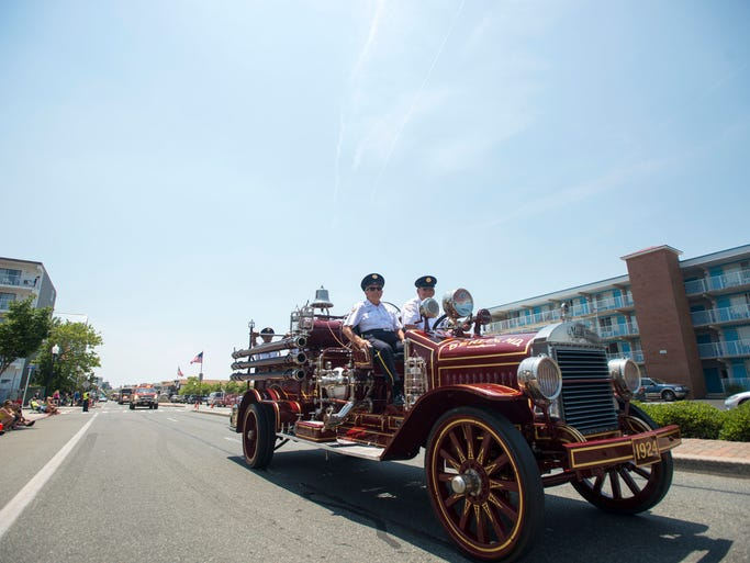 A classic Berlin fire engine during the Maryland State Firemen's Association parade in Ocean City.
