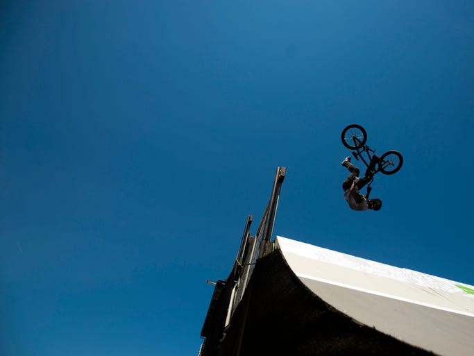 Kyle Baldock competes in heat two of the BMX Park finals.