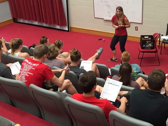 Amanda Poppleton talks to North Carolina State students.
