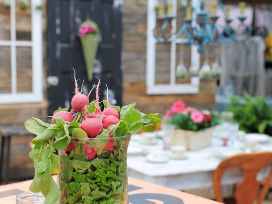 A bowl of radishes dresses a table at Johnson's Corner Farm.