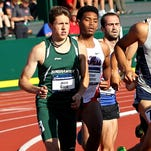 Binghamton University's Jesse Garn, left, runs in the semifinals of the NCAA Division I track and field championships in Eugene, Ore., on June 10, 2015.