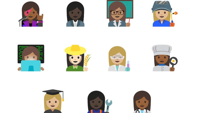 Unicode approved 11 new emoji representing a men and women in more professionals.