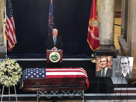 Indiana Gov. Mike Pence speaks at the funeral service for former Congressman Andy Jacobs Jr. on Friday, January 3, 2014 at the Indiana Statehouse. Jacobs died Saturday at the age of 81.
