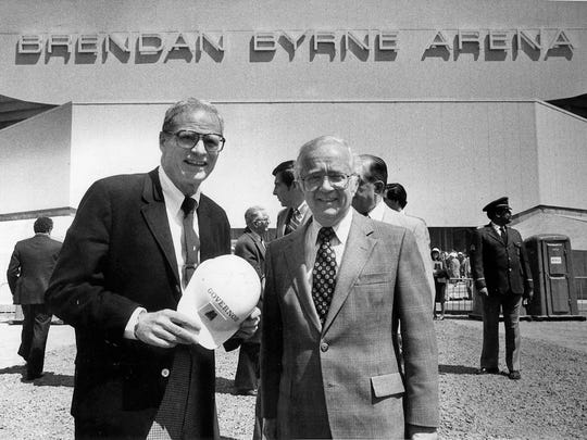 Gov. Brendan Byrne and New Jesey Sports and Exposition Authority chairman William Hyland posed in front of the new arena bearing Byrne's name at the dedication on April 22, 1981.