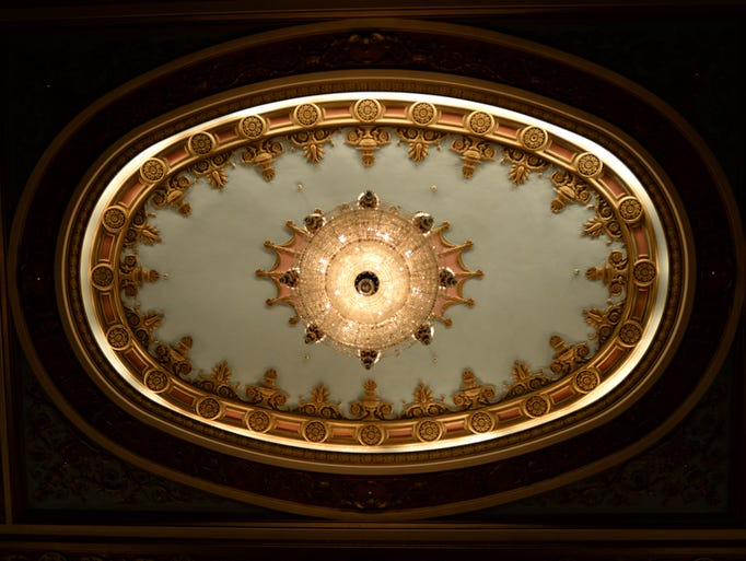 This chandelier hangs over the audience at The Strand Theatre in Shreveport that originally opened in 1925.
