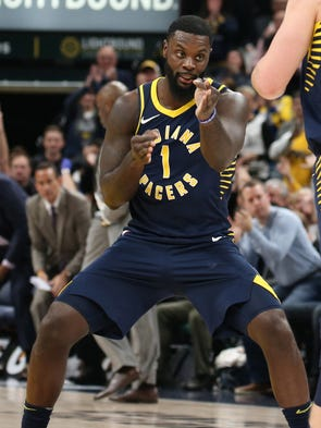 March 5: Pacers guard Lance Stephenson celebrates a