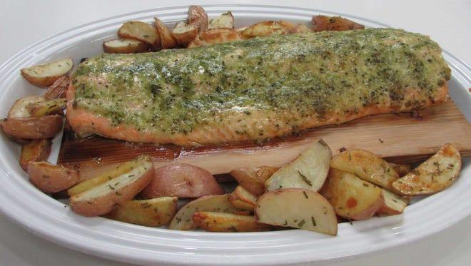 Pesto Cedar Plank Salmon