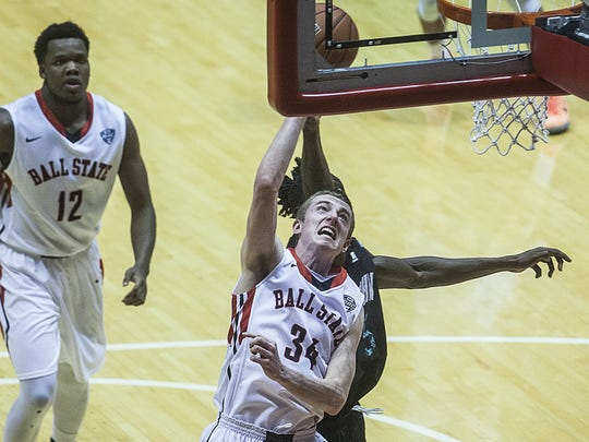 Ball State's Sean Sellers goes to the rim against Ohio during his freshman season in 2014-15.