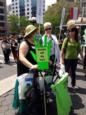 Jeannine Phillips, 62, of East Brunswick, N.J., protests disciplinary actions against Lyme disease physicians at a May rally in Manhattan's Union Square Park to raise awareness of the tick-borne disease. She said she saw 26 doctors before her diagnosis with Lyme in 1999.
