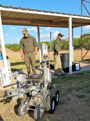 Among other tools of the trade, Abilene Academy members got to check out the bomb squad's robot.