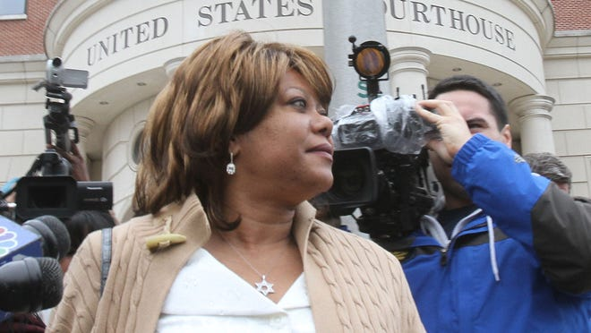 Former Spring Valley Mayor Noramie Jasmin outside U.S. District Court in White Plains after being indicted on corruption charges in April 2013.
