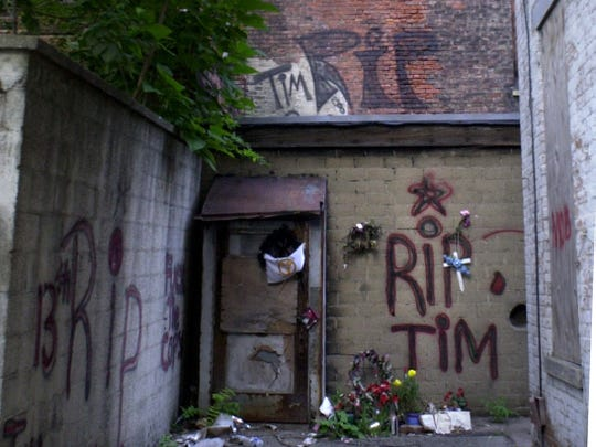 Sept. 2001: A memorial at the site where Timothy Thomas was shot and killed by Cincinnati Police Officer Steve Roach near the 1200 block of Republic Street.