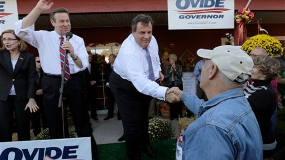 Gov. Chris Christie campaigns in Atkinson, N.H., on Sept. 25, 2012. He's back in town tonight for a fundraiser. (AP Photo/Charles Krupa)