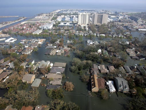 An aerial view shows the flooded area in the northern