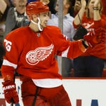 Detroit Red Wings right wing Tomas Jurco (26) celebrates his goal in the third period against the Toronto Maple Leafs.