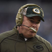 Green Bay Packers coach Mike McCarthy during Sunday's game against the Carolina Panthers at Bank of America Stadium in Charlotte, NC.