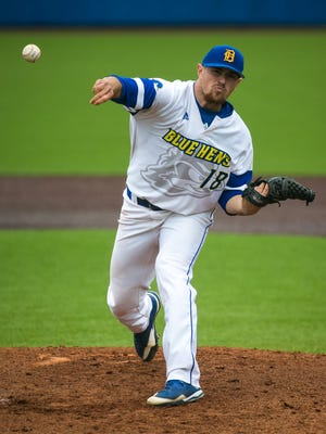 Dover High graduate and UD pitcher, Nick Spadafino, throws a pitch as the Blue Hens host Towson.
