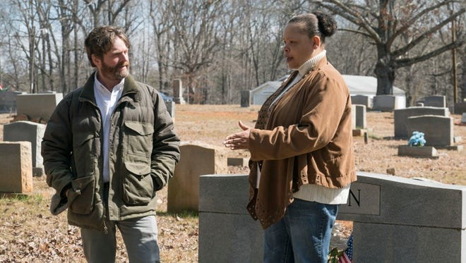 """Actor and North Carolina native Zach Galifianakis, left, conducts an interview in the new documentary """"Democracy for Sale."""""""