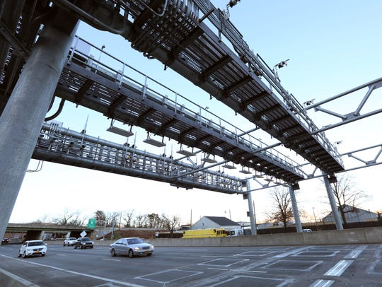 The electronic toll gantry for the Gov. Mario Cuomo