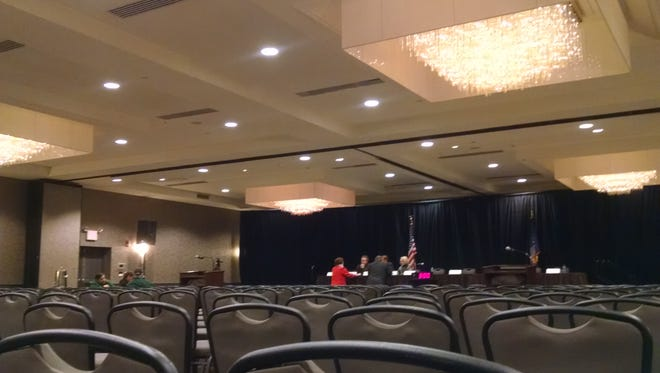 An empty room at the Crowne Plaza hotel in Suffern for an hearing regarding fare hikes throughout the MTA system on Thursday, Dec. 15, 2016.