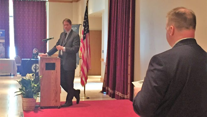 Richard Cordray, Ohio's Democratic candidate for governor, addresses a crowd representing community colleges across the state on Friday.