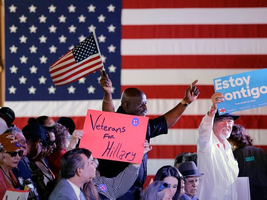 Supporters cheer for Democratic presidential candidate