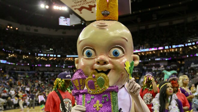 No 1: What will help you enjoy a basketball game more? Apparently a giant king cake baby come to life and roaming around. It looks like it might have a taste for blood, but it also tries to generate enthusiasm for the NBA's New Orleans Pelicans. It probably also makes common appearances in the nightmares of small children who were hauled to Pelicans games.