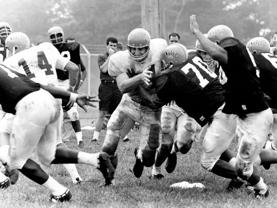 Bengals center, Bob Johnson during practice. Johnson was the Bengals first draft choice. Enquirer file photo from September 14, 1969.