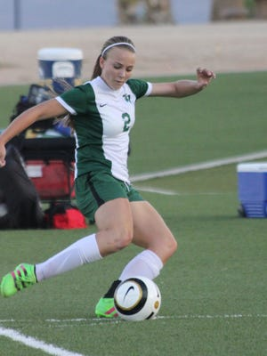 Virgin Valley's Abbie Barnum prepares to take a shot on goal during Mesquite Cup play on Friday night.