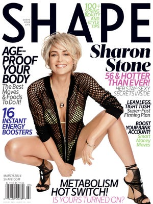 Sharon Stone poses on the cover of 'Shape' magazine's March 2014 issue.
