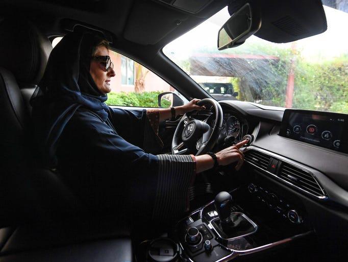 Halah Hussein Reda, a newly-licensed Saudi motorist,