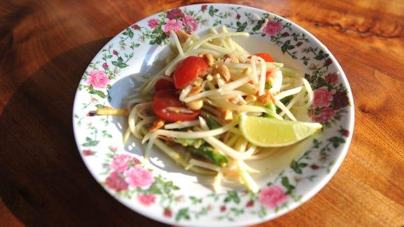 The green papaya salad from M.B. Haskett's new dinner