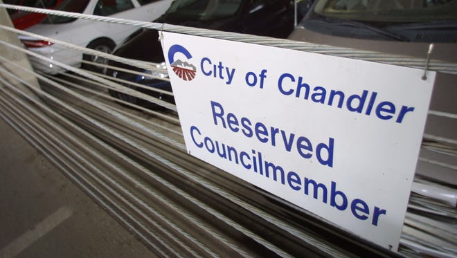 This parking spot is reserved for a council member of the City of Chandler.