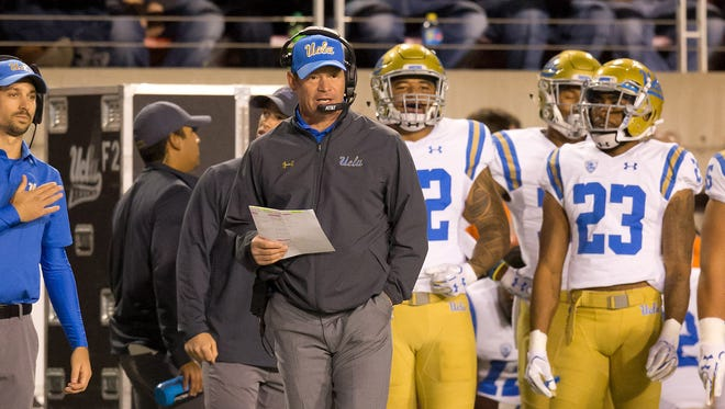 Nov 3, 2017: UCLA Bruins head coach Jim Mora (with headset) during the first half against the Utah Utes at Rice-Eccles Stadium.