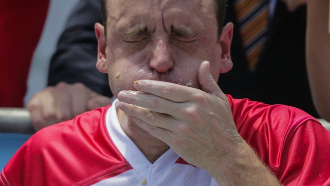 Joey Chestnut competes in the annual Nathan's Hot Dog Eating Contest.