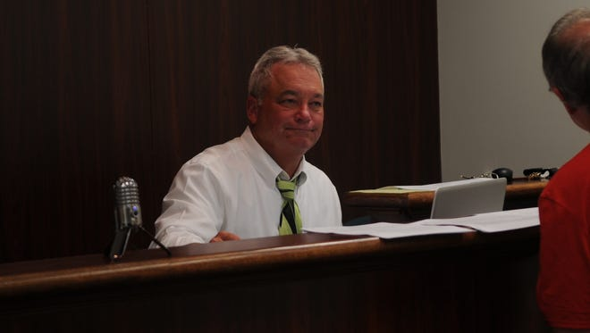 Frankford Town Treasurer Marty Presley at the Aug. 7 regular meeting.