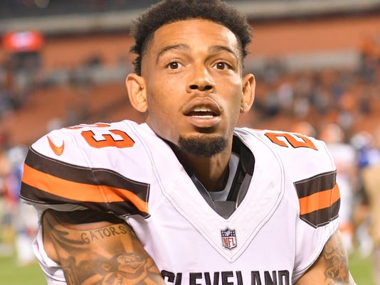 FILE - In this Aug. 21, 2017, file photo, Cleveland Browns cornerback Joe Haden (23) walks off the field after an NFL preseason football game against the New York Giants, in Cleveland. Former Pro Bowl cornerback Joe Haden has been released by the Browns. Haden has been slowed by injuries the past two seasons. The Browns felt he was no longer going to help them and terminated his contract Wednesday, Aug. 30, 2017. (AP Photo/David Richard, File)