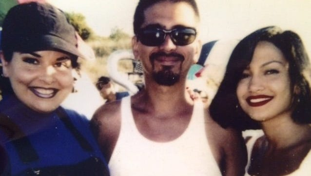 """Jackie Guerra (from left), Frank Mendez and Jennifer Lopez on the set of """"Selena"""" in 1997."""