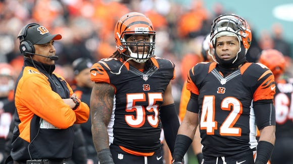 Bengals head coach Marvin Lewis, linebacker Vontaze Burfict and running back BenJarvus Green-Ellis.